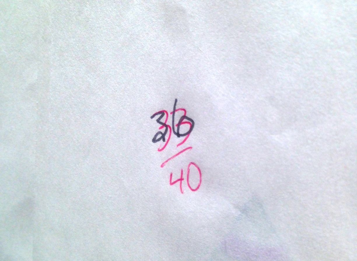 Not sure what to make of the scratched out grade, the initial 33/40 changed to a 36/40. Red to black ink. B bumped to an A. My mom was trying to remember which teacher this was back in 1983--everyone knows everyone in my home town-- because both my parents were teachers, my dad a principal for much of his career, so we wondered if this English teacher thought it might be a career limiting move to give the principal's daughter a low grade on the story, but my dad wasn't the principal of the school at that time so unless someone comes forward with a confession about the three point upgrade, it will remain a mystery.