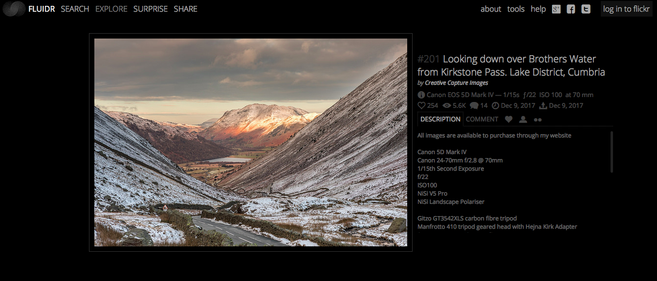 Flickr Explore screenshot