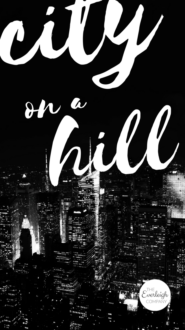Christian Bible Verse iPhone Wallpaper City on a Hill by Everleigh Company