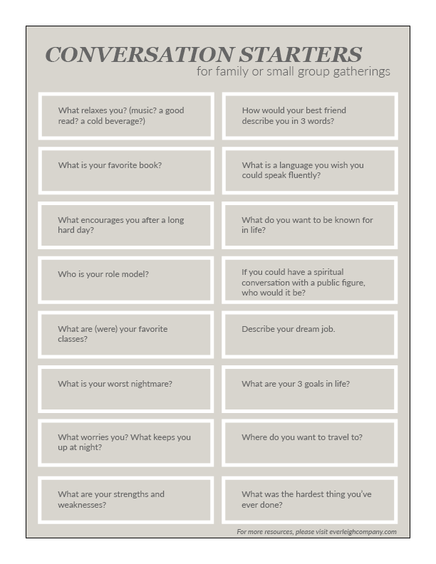 Conversation Starters for Family or Small Group Gatherings by Everleigh Company