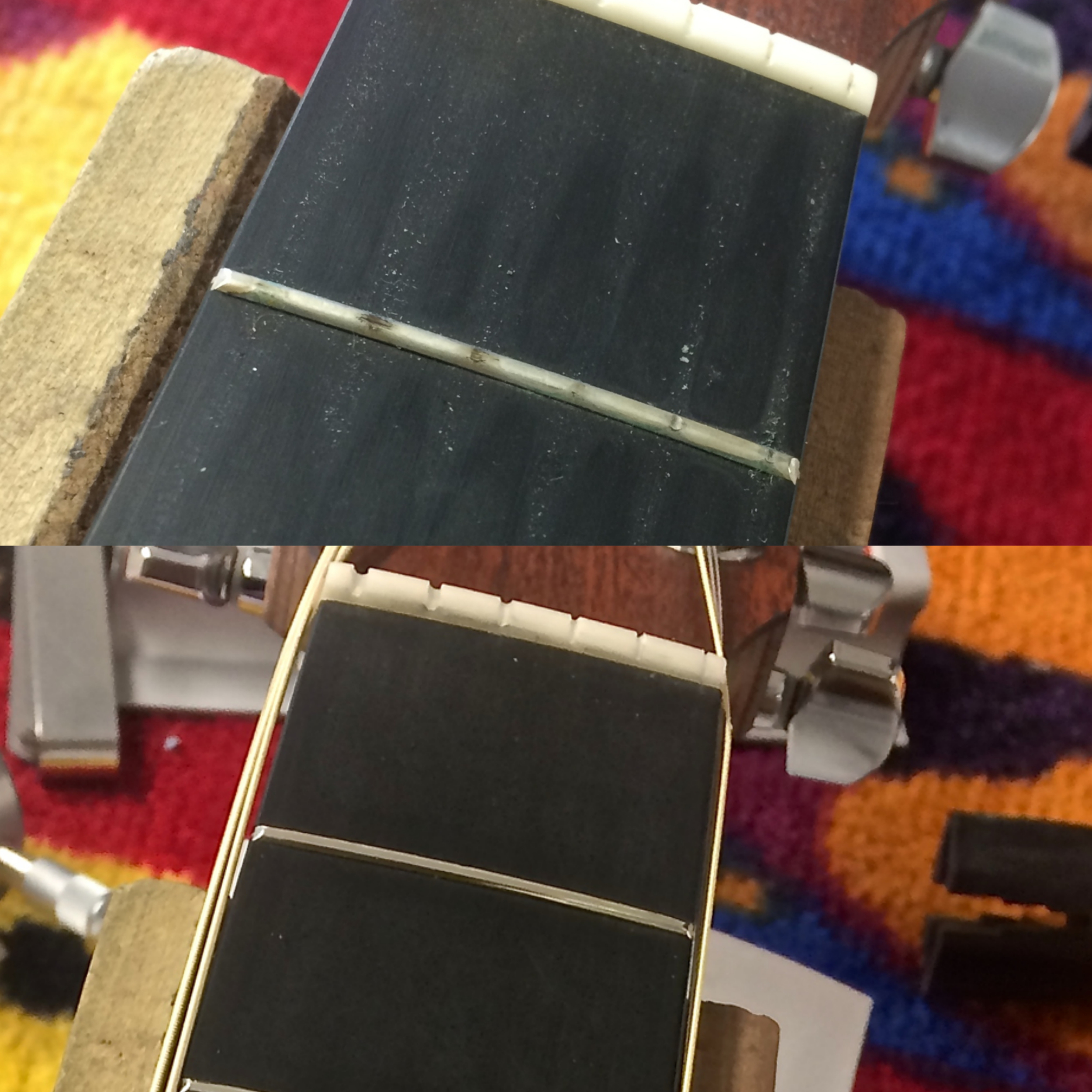 Before and after fret dressing.