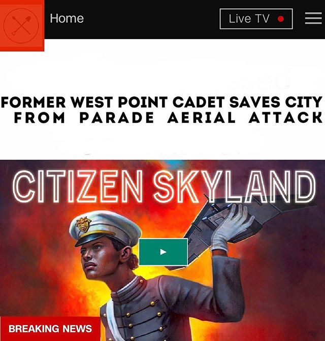 """Former West Point Cadet Saves City From Parade Aerial Attack"" Help us bring Citizen Skyland, the second graphic novel in our universe,  to life on @Kickstarter and vote on the fate of Dr. Cupid! Our 🚀 is on 5.10.2019 through #kickstarter #citizenskyland #vote"