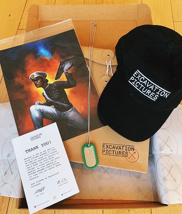 #Teamwork _  This week we shipped out our #CitizenSkyland Care Package to our amazing #kickstarter supporters! The goodies included:  _Limited and signed Cupid Under the Gold Knife (Volume I) Hardcover edition (including a signature from the one and only @therealglennfabry ) _#Military Grade Citizen Skyland Dog Tag (with Kickstarter launch date inscribed) _Reversible original cover art on cardstock of Cupid Under the Gold Knife (Vol. I) and Citizen Skyland (Vol. II) _ Excavation Pictures #dadhat  What do you think?  #lillyskyland #NYC #newyorkcity #comic #comicbook #hero #vigilante #UAV #army #soldier #antihero #kickstarter #weapon #design #cupid #bestseller #graphic #graphicnovel #trending