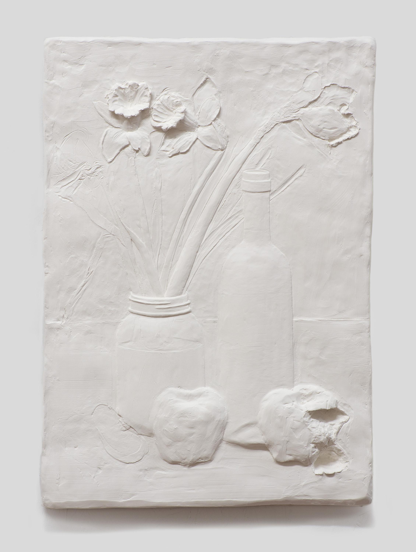 Still-Life , 2015 Gypsum cement, fiberglass cloth, and wood 21 x 15 x 1 1/2 inches