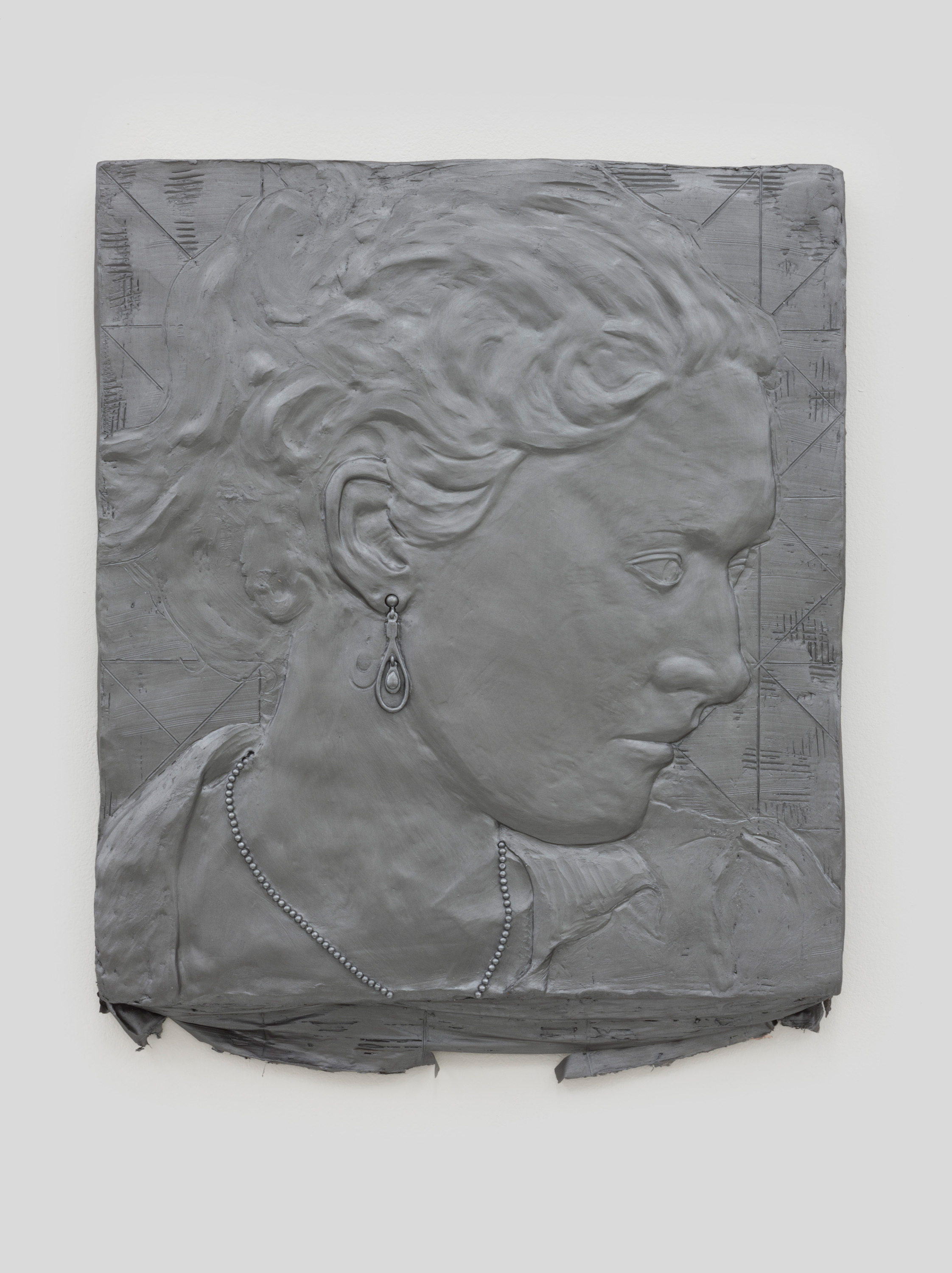 Annie , 2014 Acrylic paint, gypsum cement, fiberglass cloth, and wood 22 x 20 x 2 inches