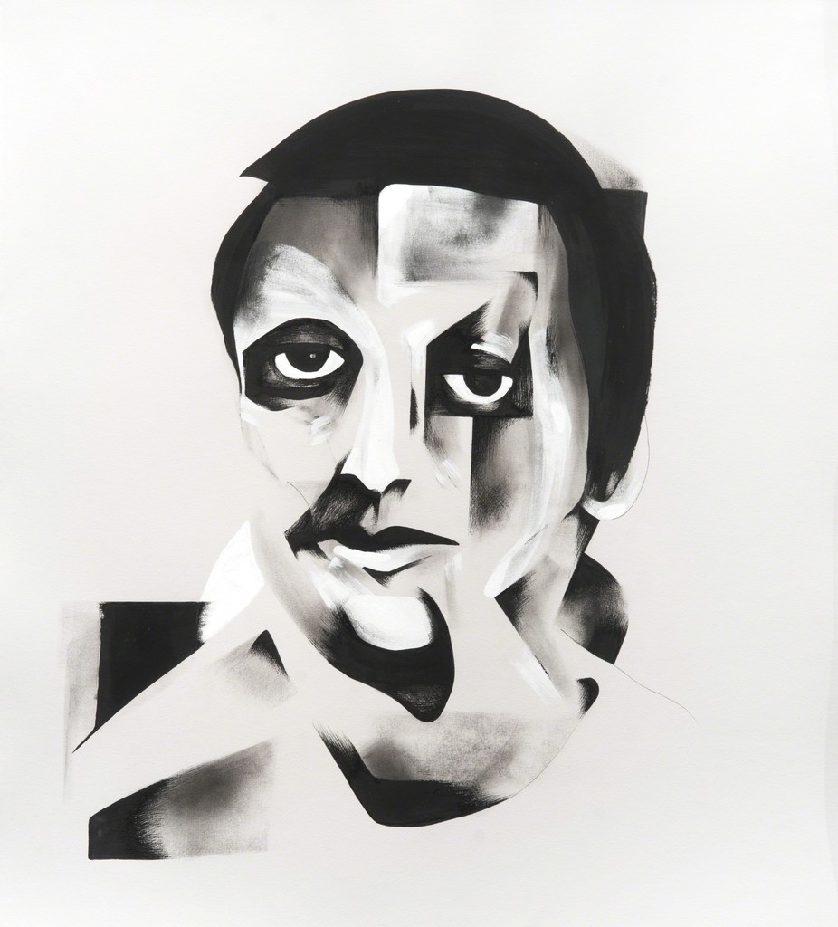 Untitled Portrait II , 2012 Mixed media on paper 25 x 28 inches