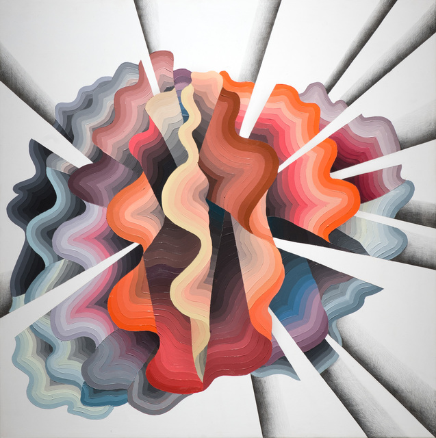 Justin Margitich  Iridium #9 , 2014 Acrylic and colored pencil on panel 24 x 24 inches