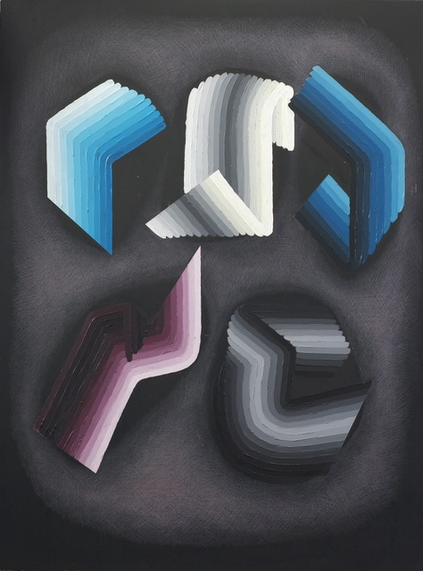 Justin Margitich  Circuitous #4 , 2014 Acrylic and colored pencil on panel 24 x 18 inches