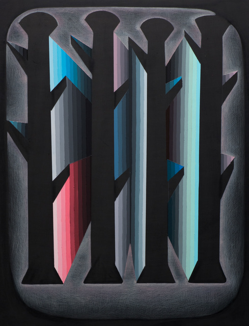 Justin Margitich  Circuitous #8 , 2015 Acrylic and colored pencil on panel 24 x 18 inches