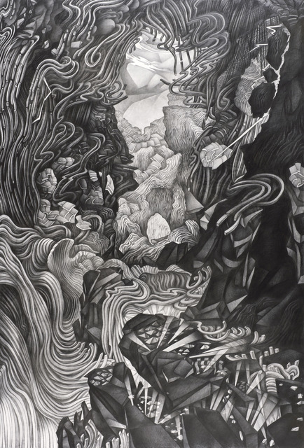Justin Margitich  Disassembling Landscape II , 2014 Pencil on panel 72 x 49 inches