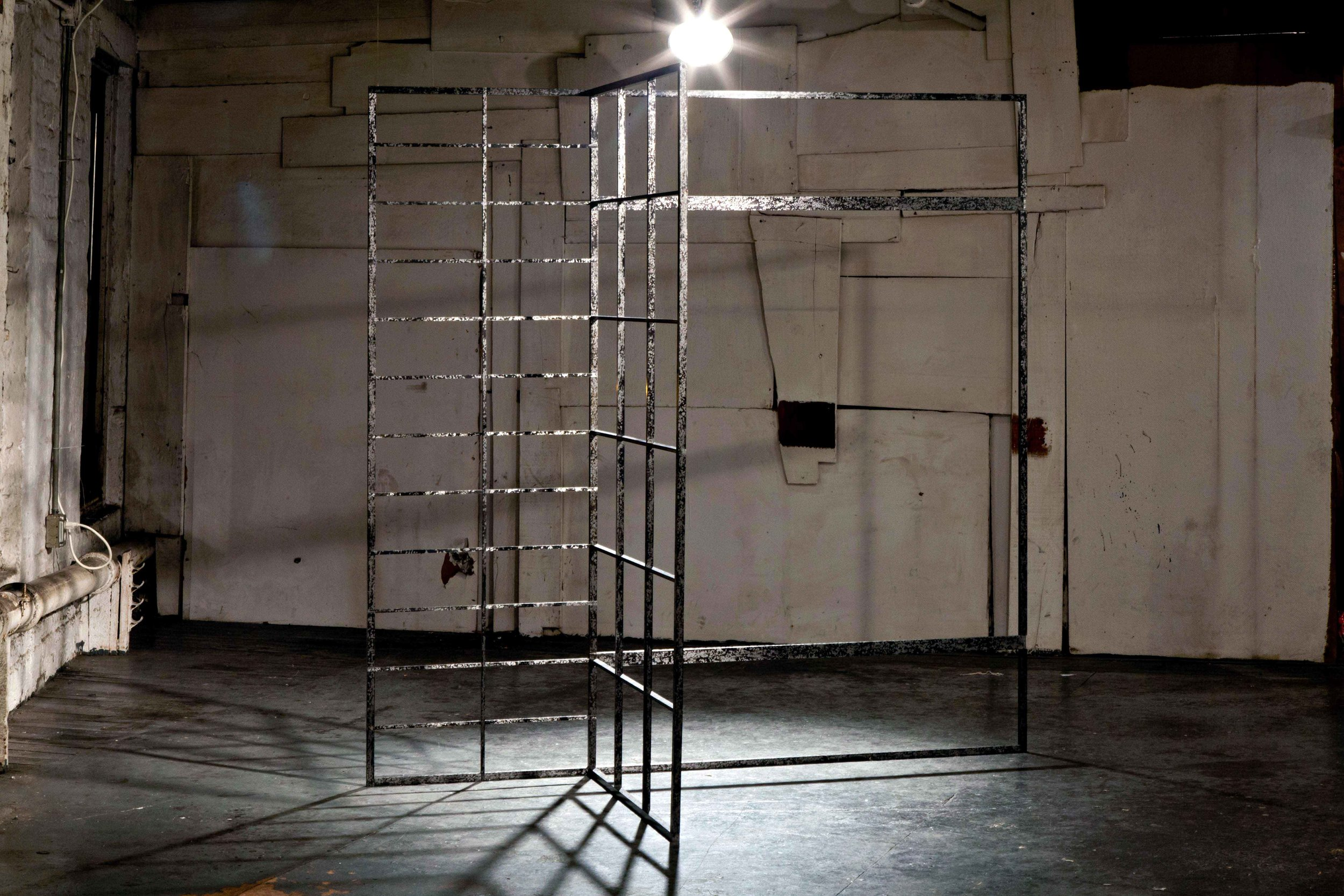 Screen For A Hermit , 2014 Steel, and gun black 72 x 36 x 72 inches