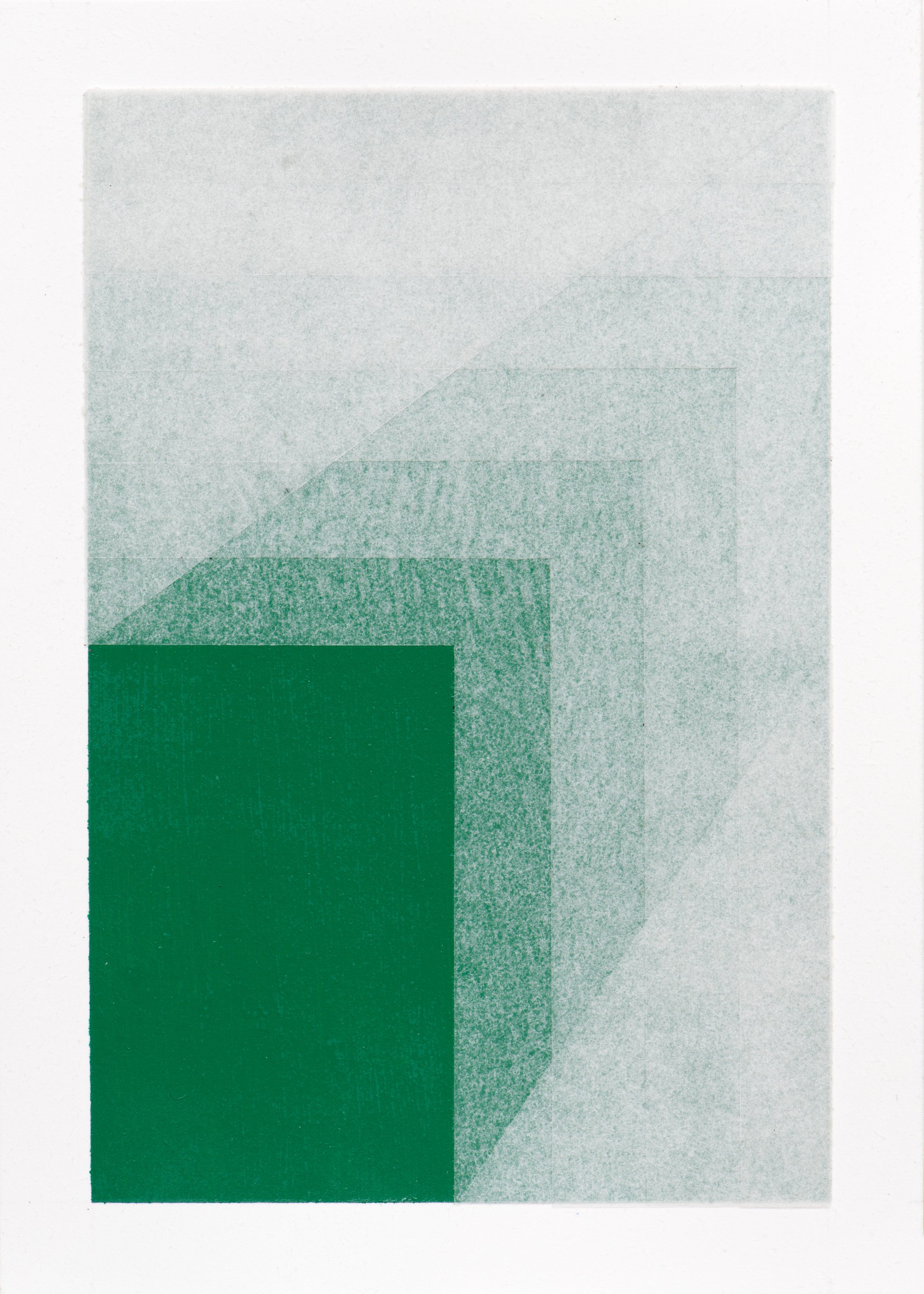 Emerald Green , 2017 Acrylic and vellum on paper 9 3/4 x 6 3/4 inches