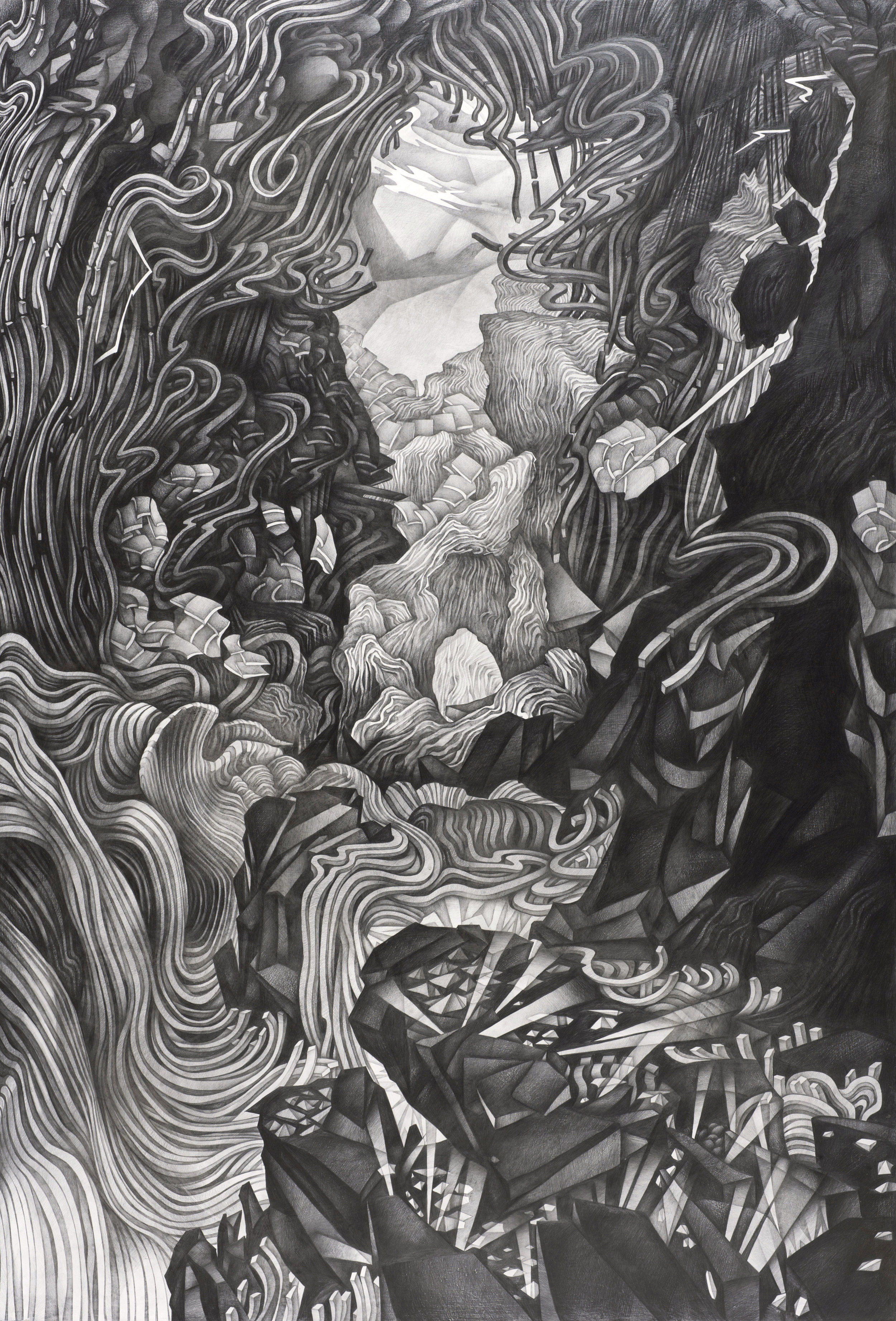 Disassembling Landscape II , 2013 Graphite on panel 72 x 49 inches