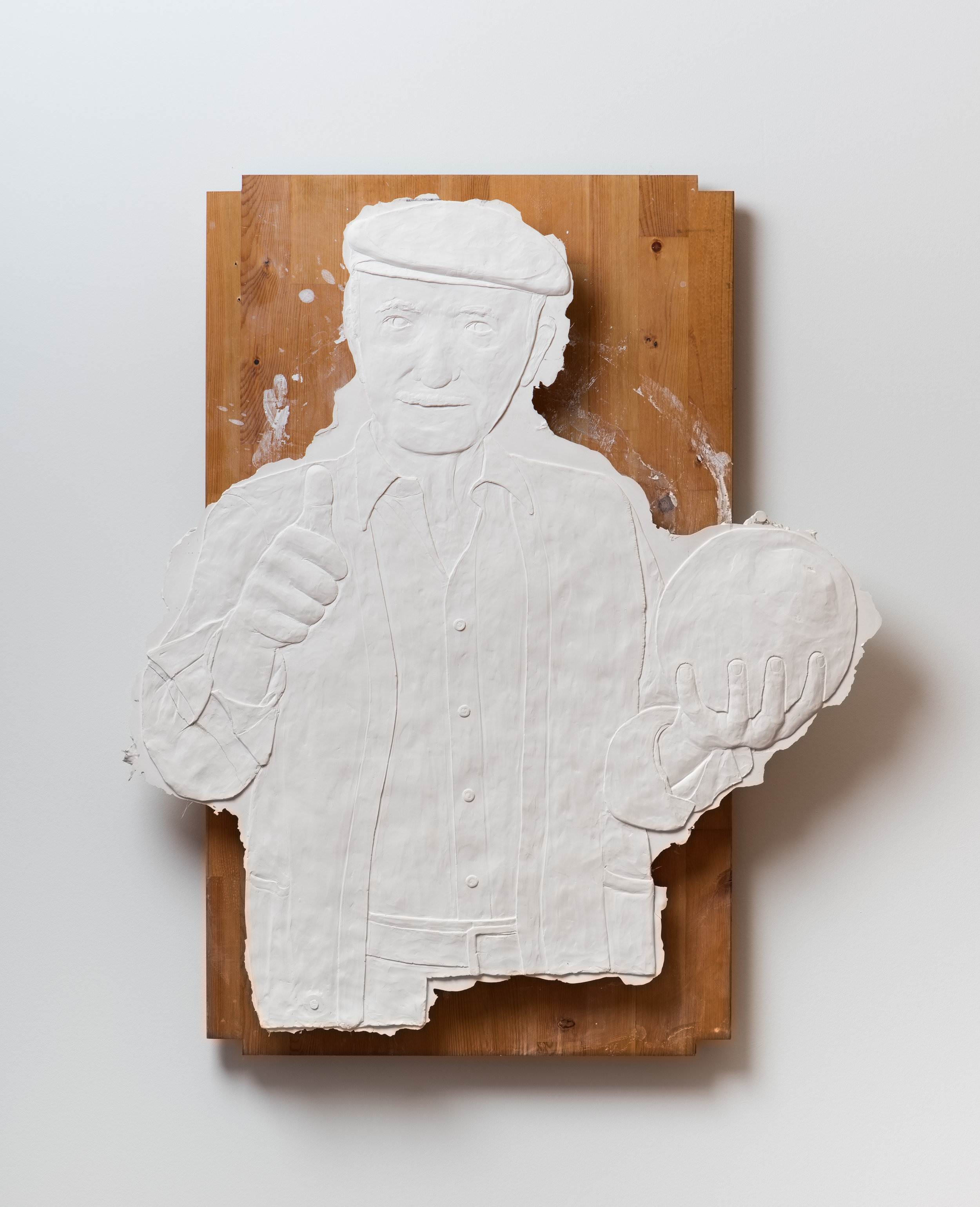 Untitled , 2017 Gypsum cement, burlap, and wood 20 x 26 x 3 inches