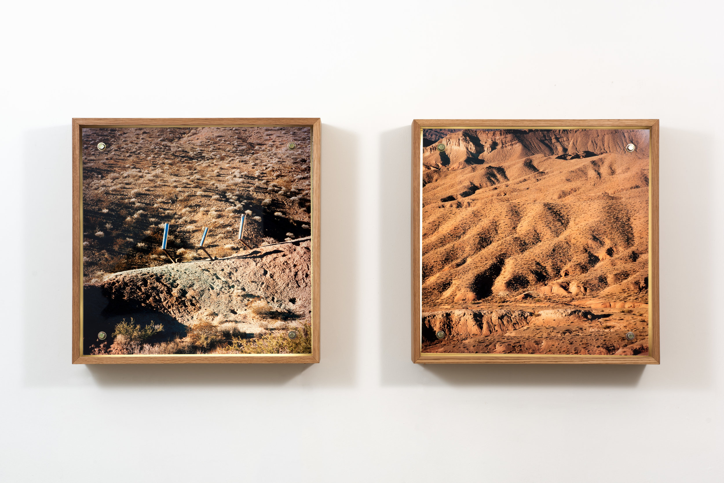 Rachael Browning  Distress Signals #1, Lake Mead , 2018 Chromogenic prints, plexiglass, LED panel, oak frame 26 x 25 3/4 inches each; installation dimensions variable