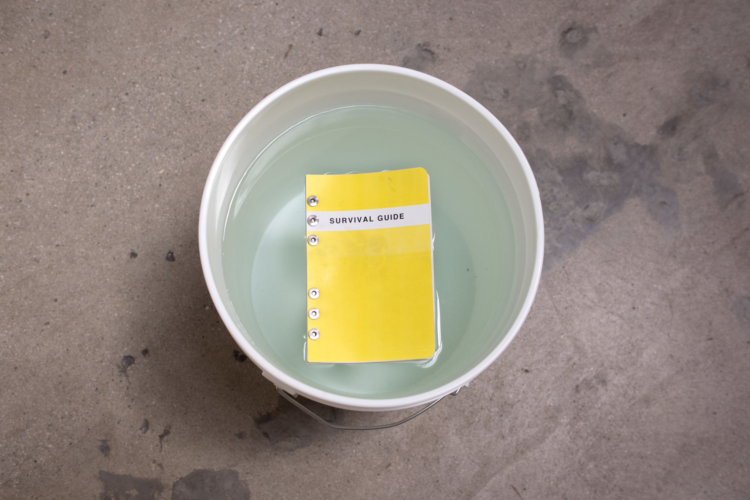 Rachael Browning  Survival Guide  (Installation), 2018 Softcover, bolt bound, laser print, waterproof paper 65 pages; installation dimensions variable