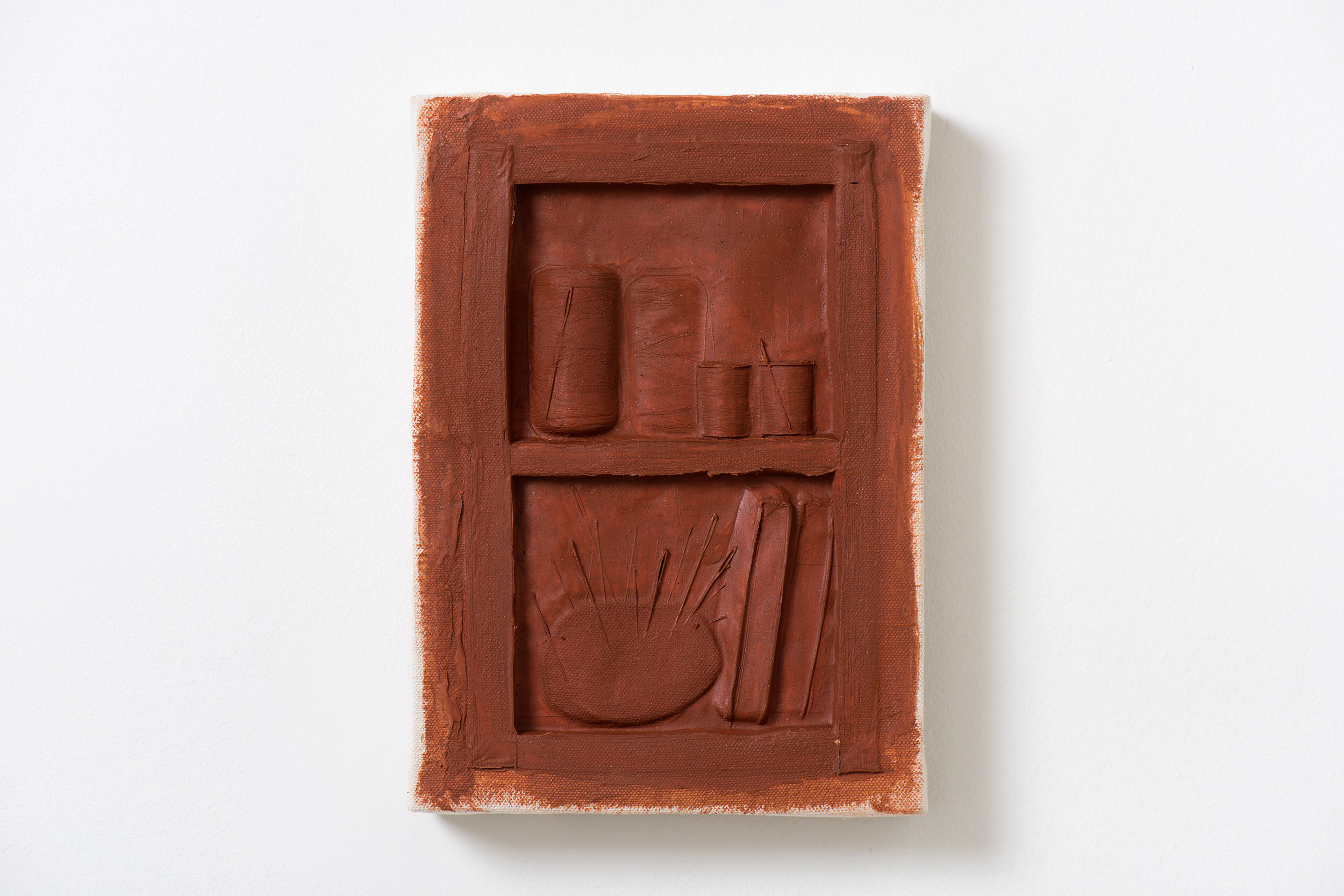 Anthony Miserendino  Thread Cabinet , 2018 Acrylic and canvas 11 3/4 x 8 1/4 x 13 3/4 inches