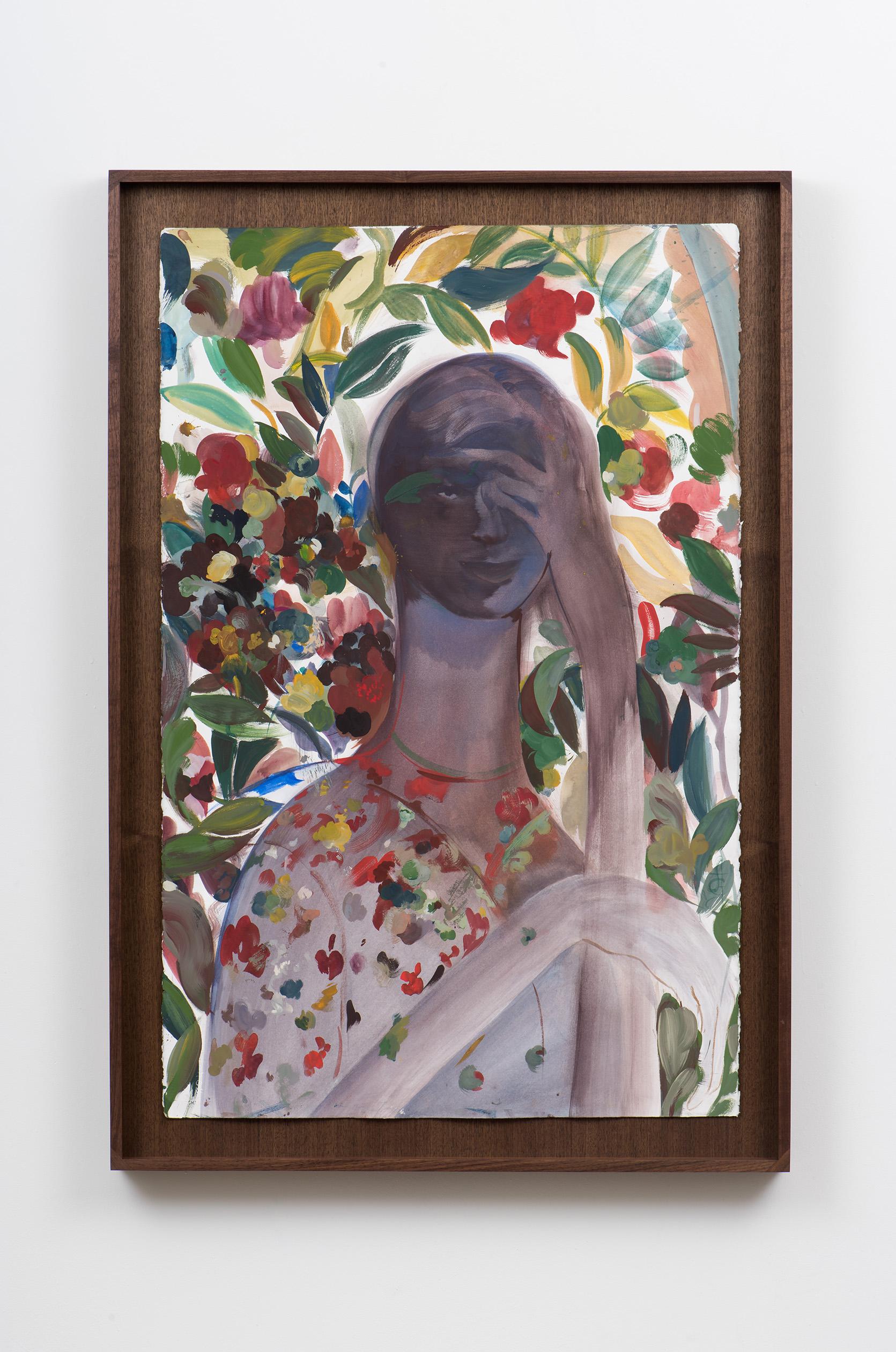 Alexa Guariglia  Adonais , 2018 Gouache and watercolor on paper 44 x 30 1/2 x 2 1/2 inches (framed)