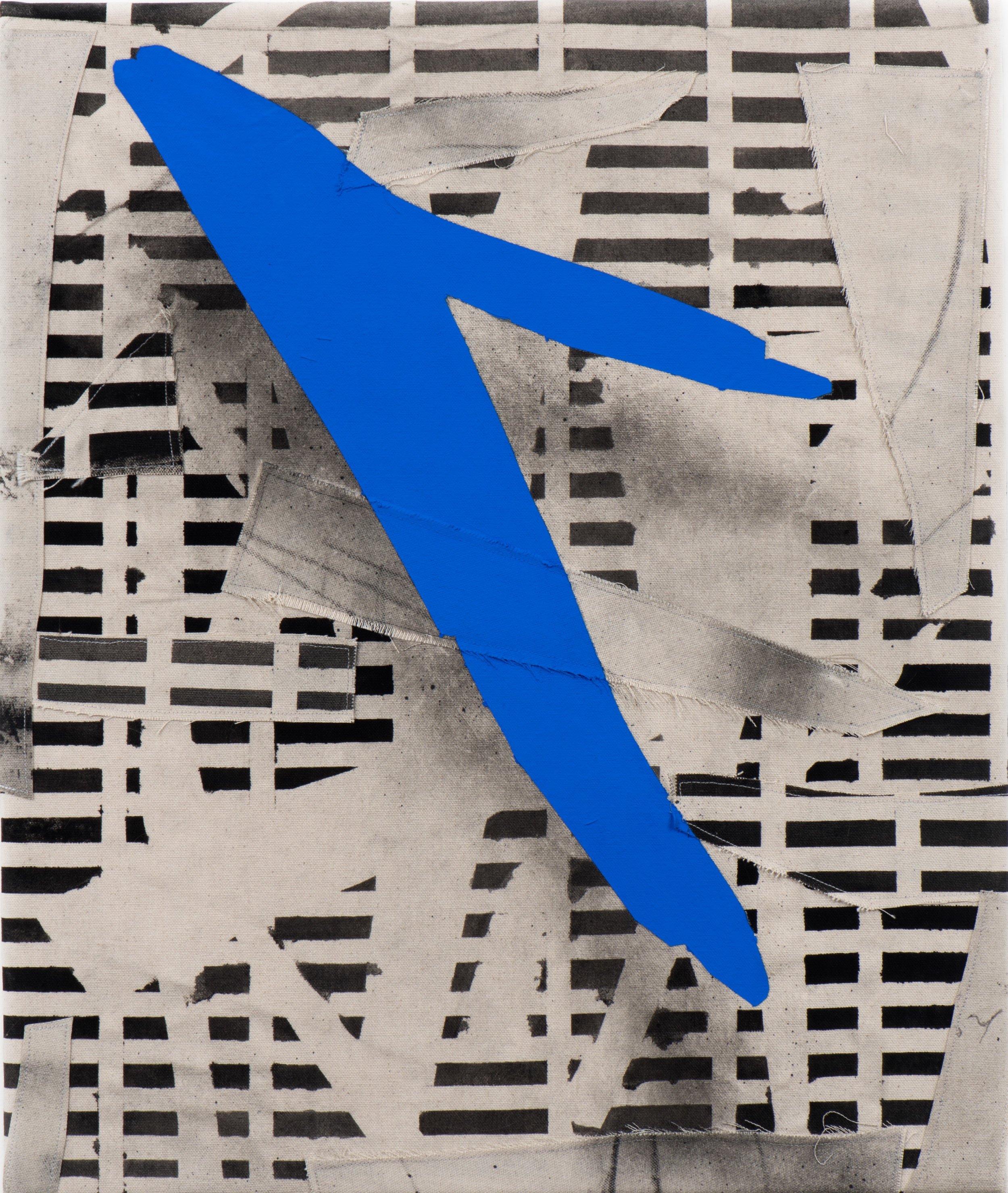 Christopher Iseri  Flying V , 2018 Flashe, acrylic, graphite, and sewn canvas on canvas 20 x 24 inches