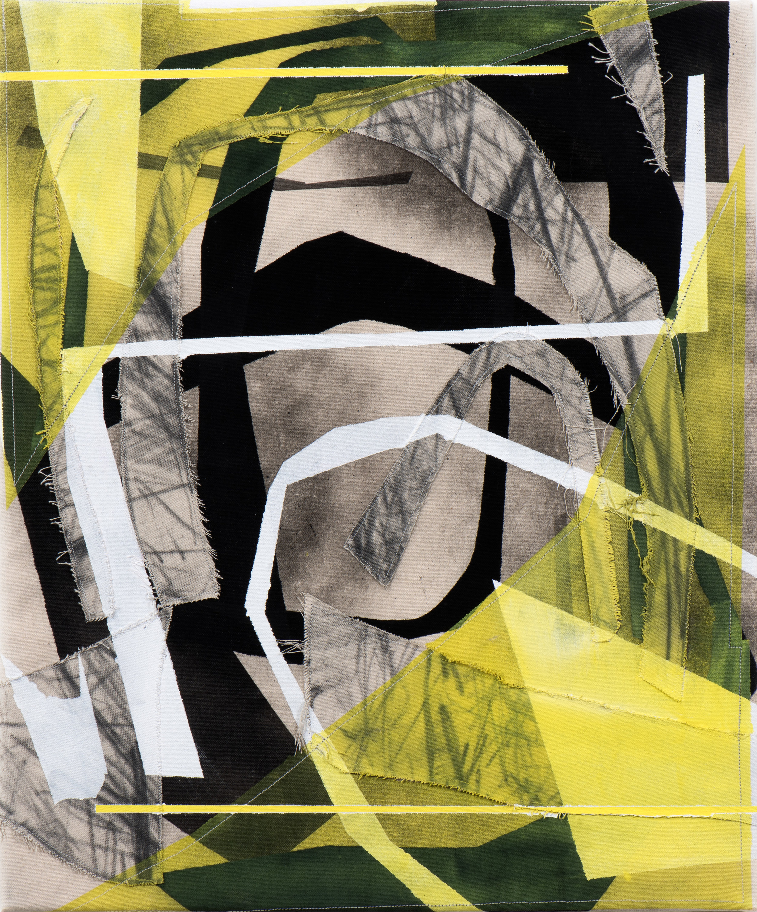 Christopher Iseri  Yellow Space (Bad Air) , 2018 Flashe, acrylic, graphite, and sewn canvas on canvas 20 x 24 inches
