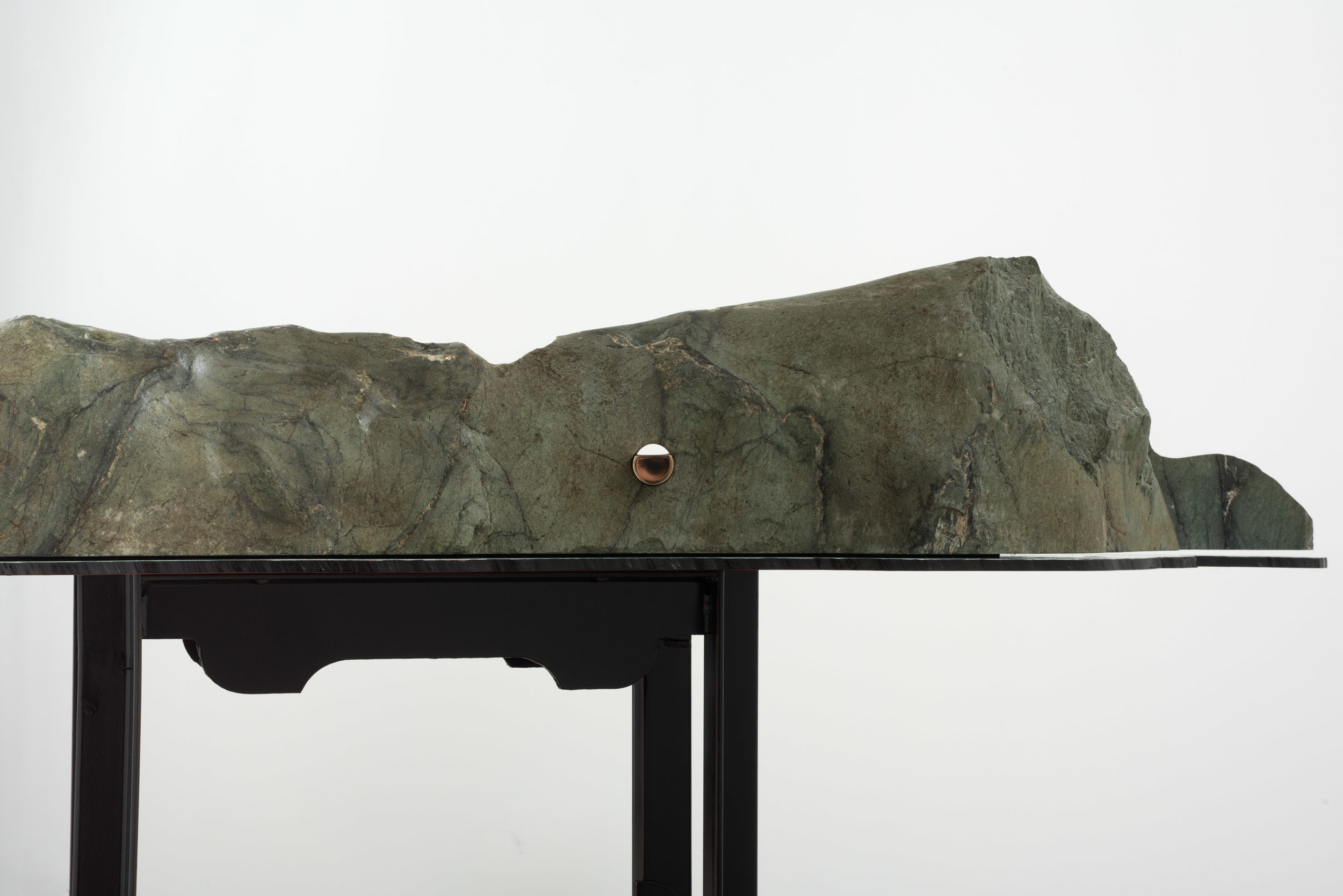 II Model of an Earth Fastener on the San Andreasm Fault , 2019 Steel, enamel, greenschist, and bronze 52 x 64 x 16 inches