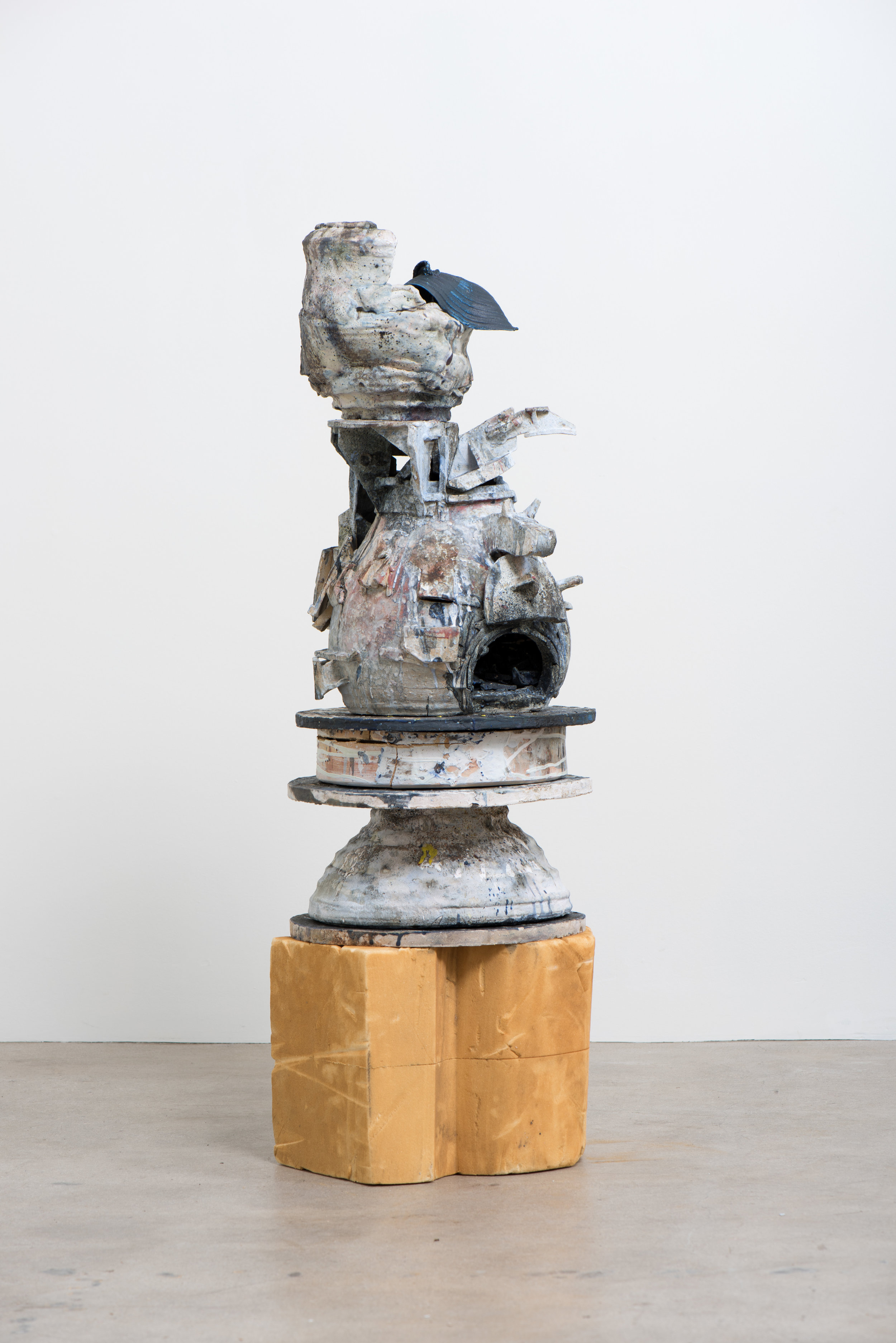 Chris Miller  The Kiln , 2019 Stoneware and fired materials 49 1/2 x 16 x 16 inches
