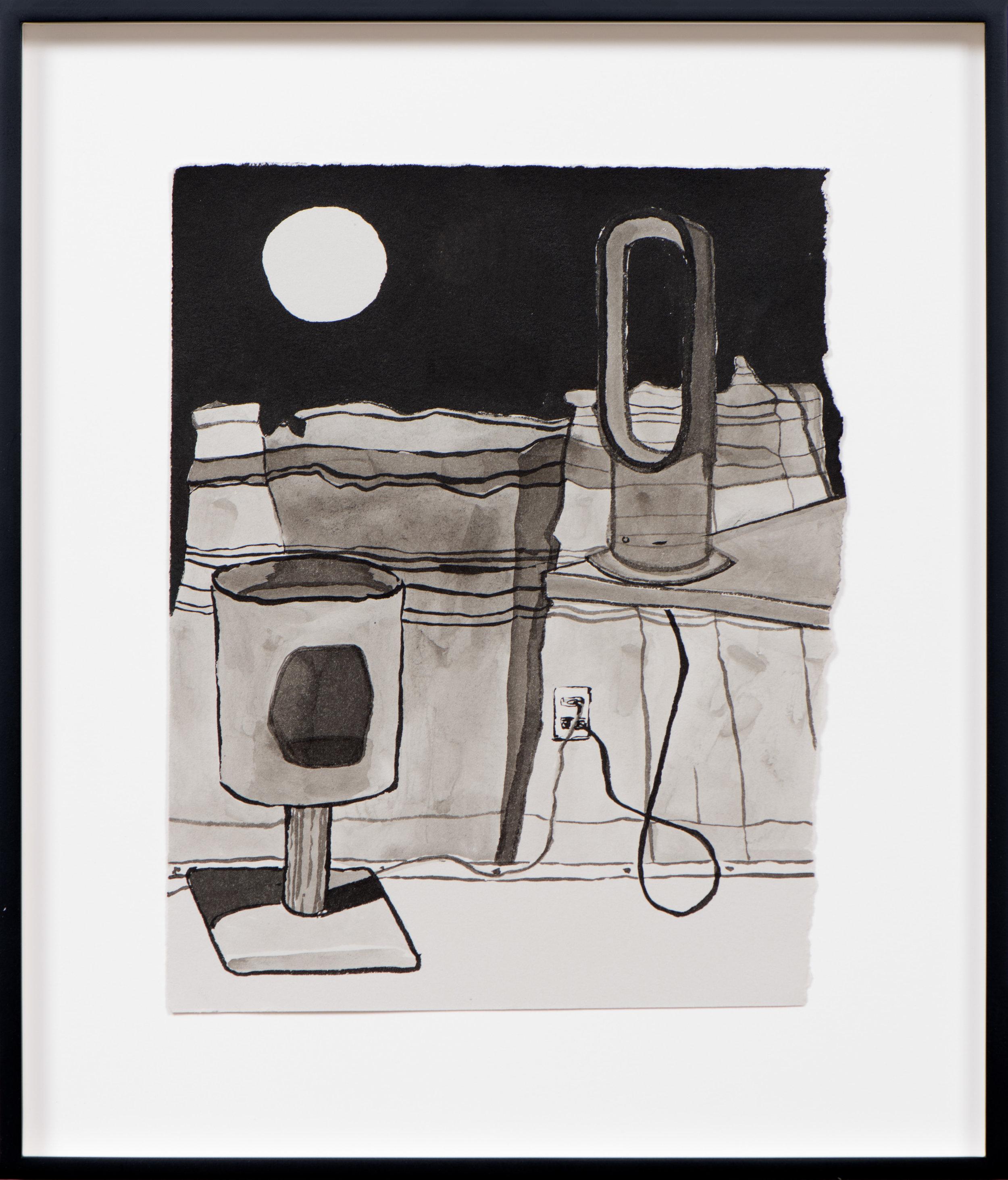 Gabrielle Ferrer  Cat Scratcher , 2019 Ink on paper 15 1/2 x 13 1/2 inches