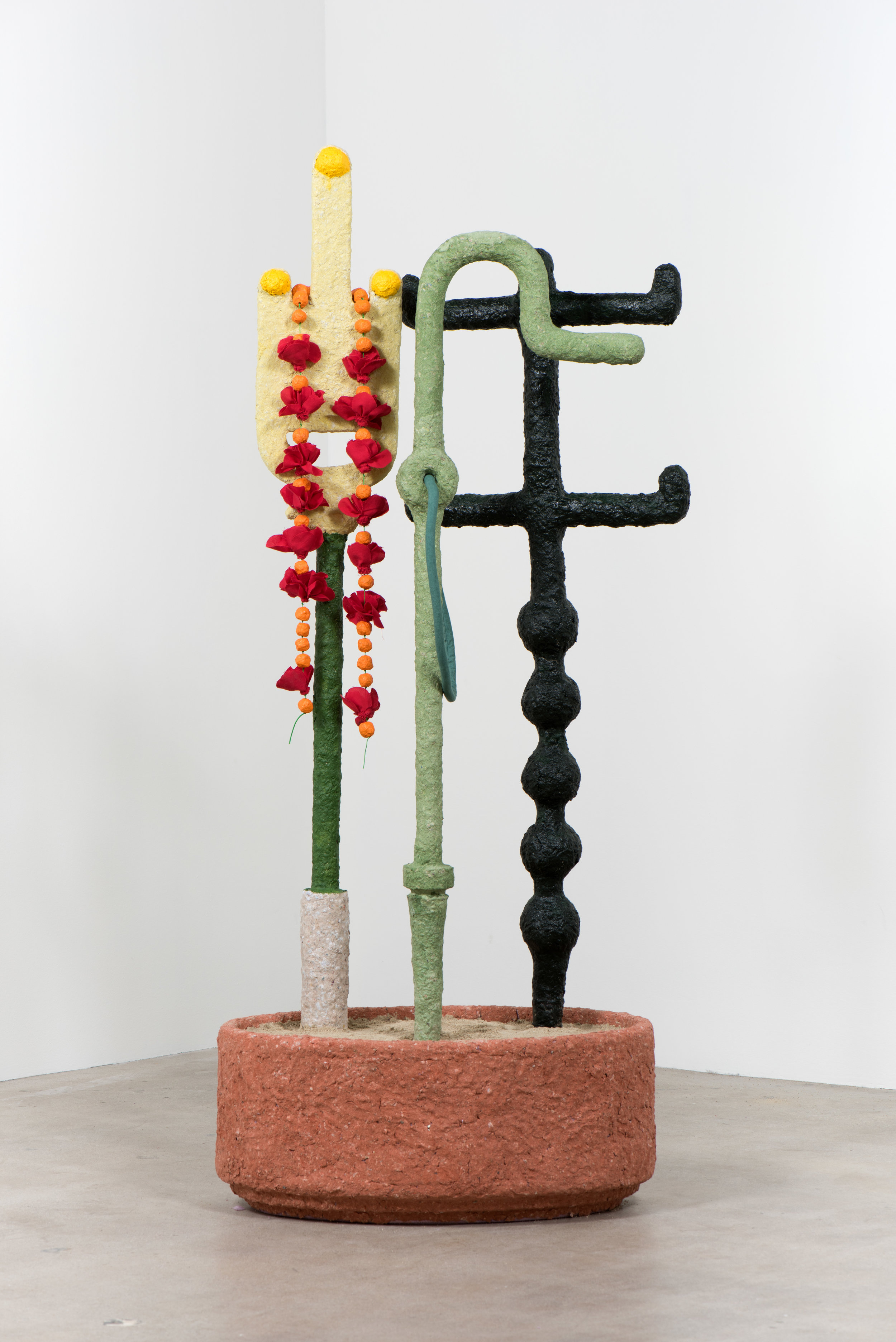 Maren Miller L to R:  Weed (Mystic), Flower (Lover) ,  Hemlock (Alchemist) , and  Provisional Base , 2019 Mixed media 64 x 30 x 13 inches; installation dimensions variable