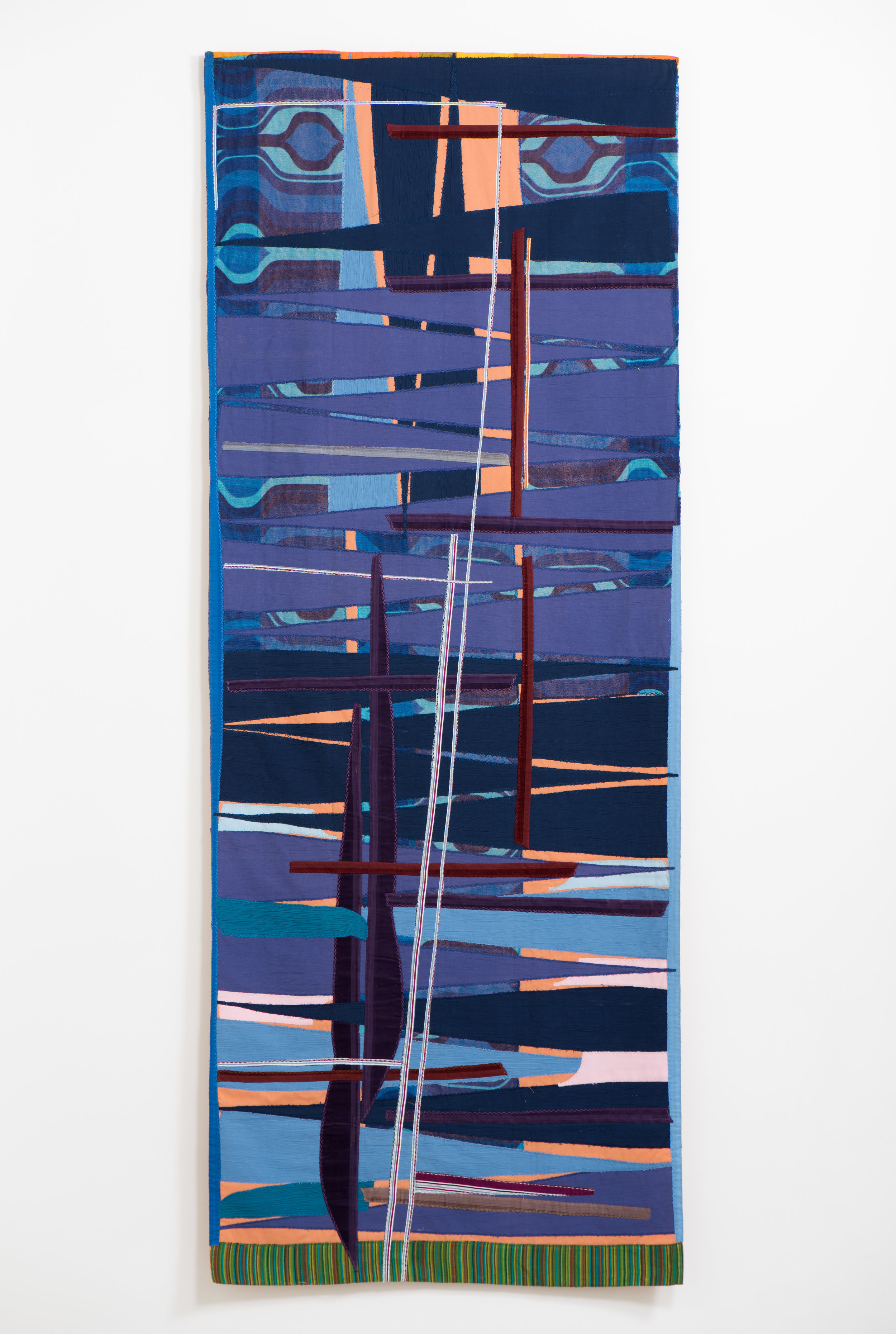 Noa Eshkol  Sunset in the Sea , 1997 Cotton, polyester, corduroy, and synthetic fibers 103 x 40 inches