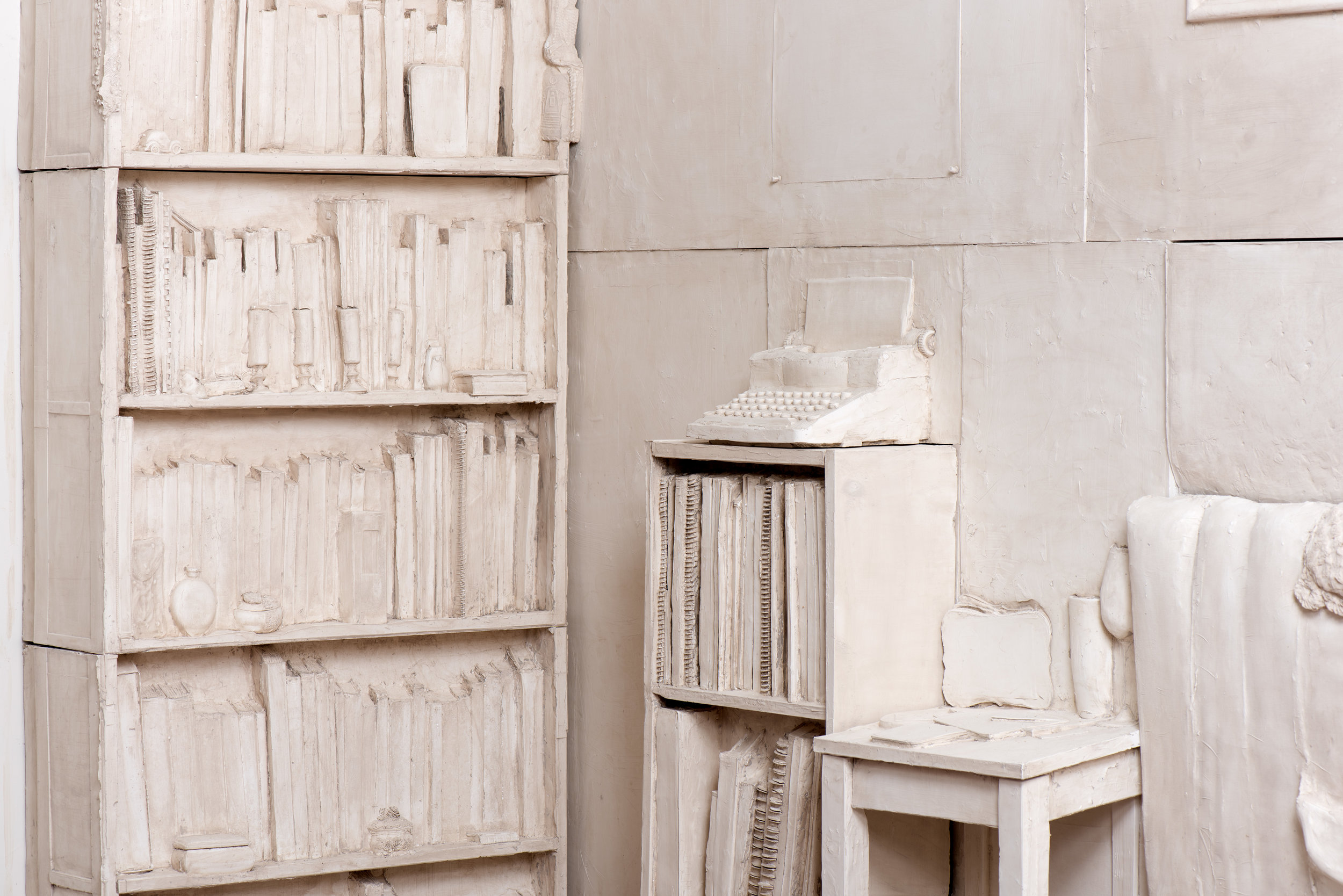 Live/Work  (detail), 2019 Gypsum cement, burlap, and wood 96 x 192 x 36 inches