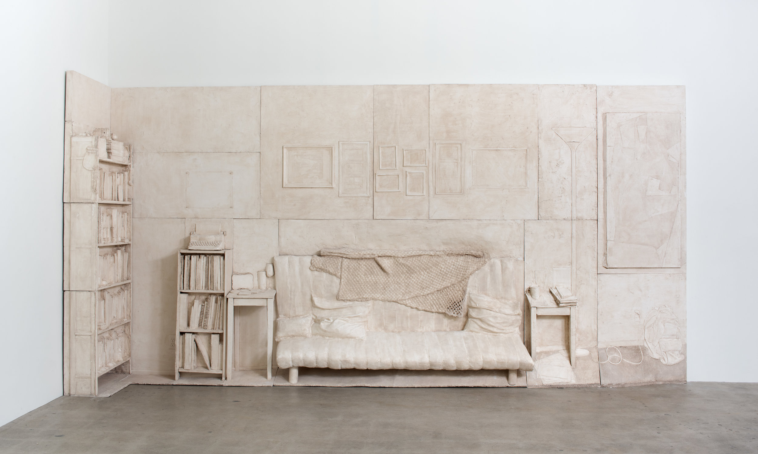 Live/Work , 2019 Gypsum cement, burlap, and wood 96 x 192 x 36 inches