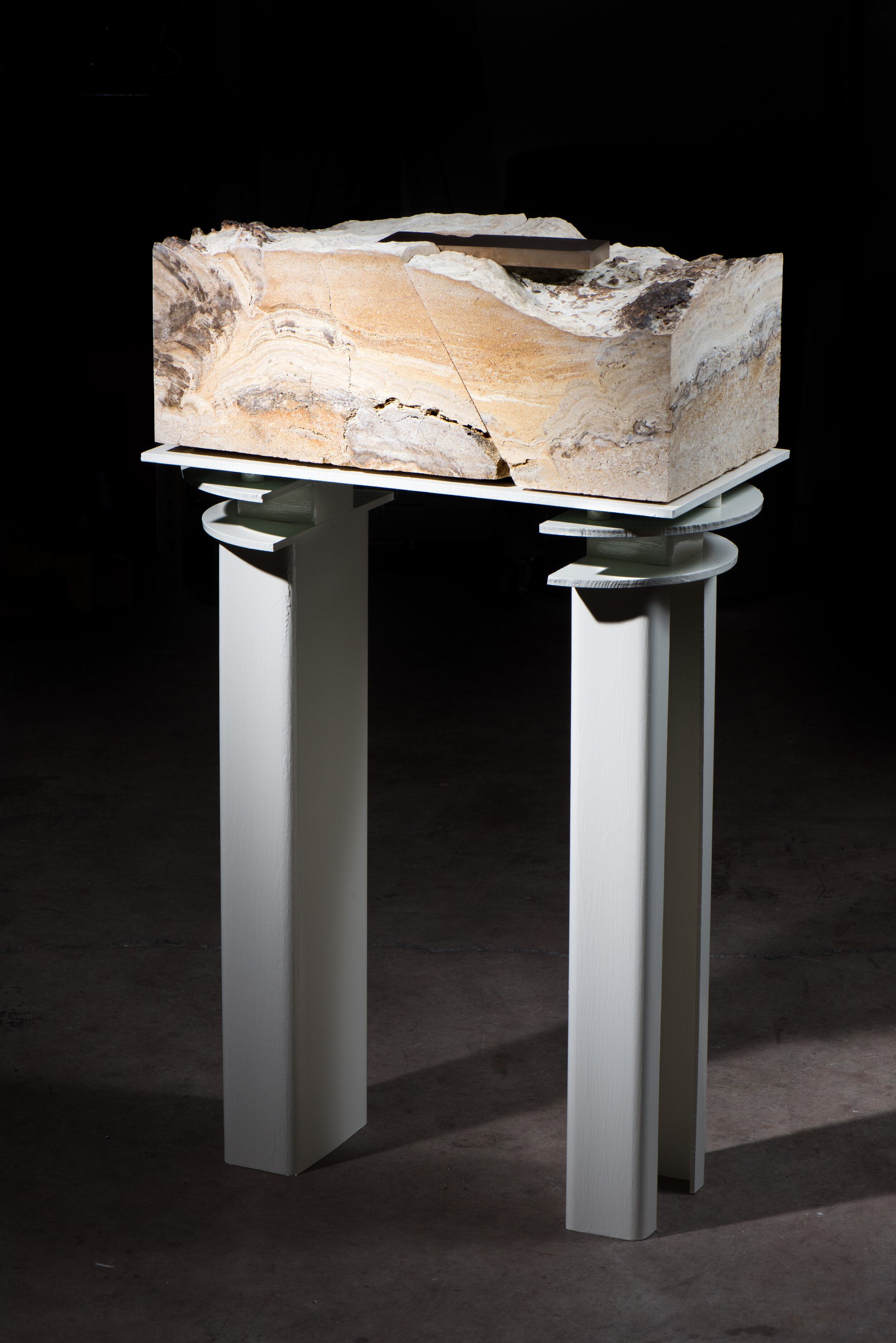 Model of an Earth Fastener on the Delphi Fault (Temple of Apollo) , 2019 Steel, enamel, limestone, and bronze 43 x 27 x 14 inches 109.2 x 68.63 x 35.6 cm Unique KYWH-0019