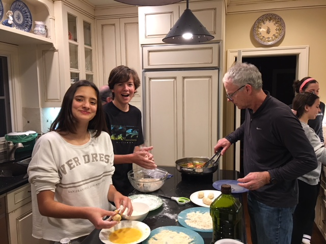 Leah, Kiko and Scott making croquetas for a tapas party at the Johnson's home.
