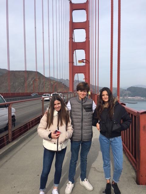 Walking across the Golden Gate bridge.