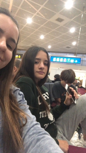 The 3 Amigos waiting to board their flight in the Madrid Airport.