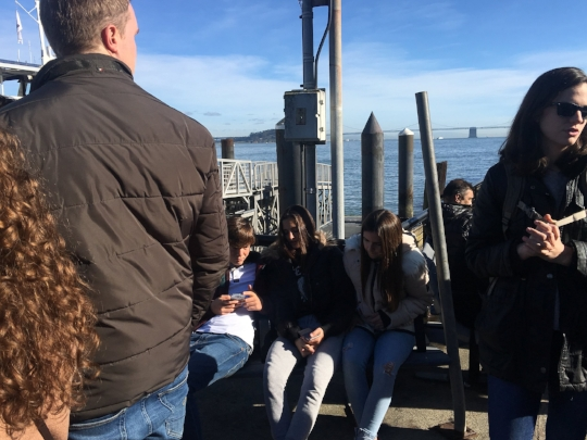 The 3 Amigos and Clara waiting to board the ferry to Alcatraz Island.