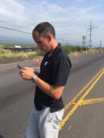 My coach, Jesse, tracking athletes