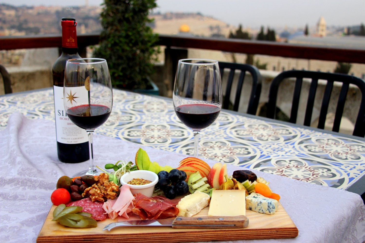 Wine and Cheese, Notre Dame dinner, Jerusalem, Old City, Israel