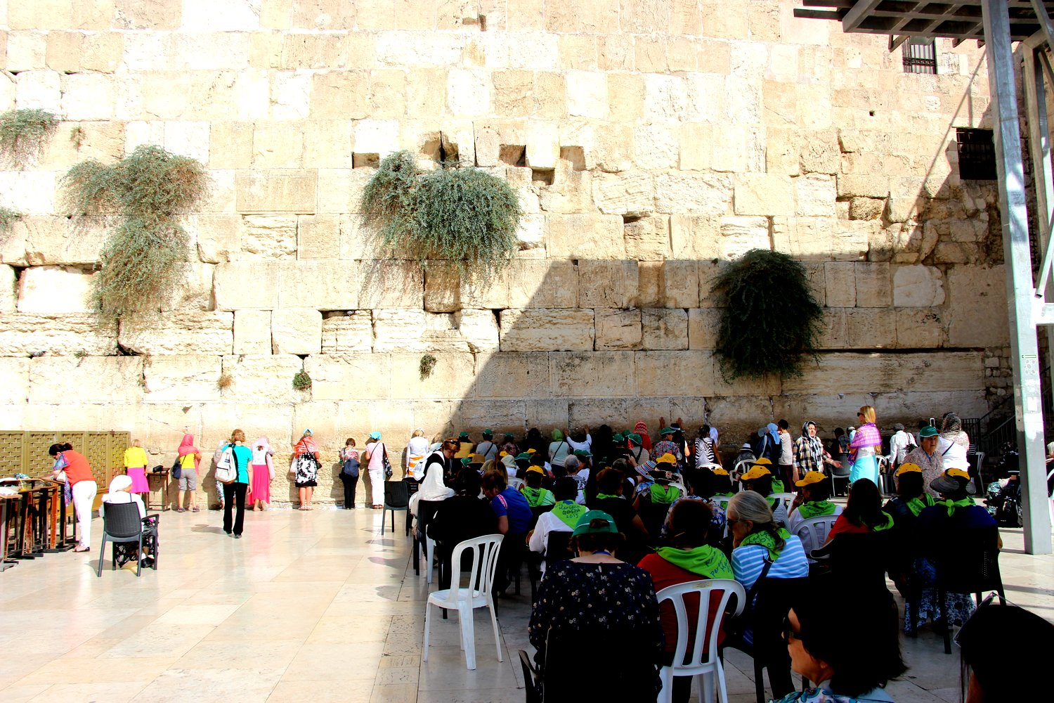 At the Western Wall, prayer is separated by men and women.