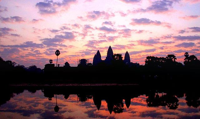 Angkor Watt at sunrise. Yes sunrise. #Cambodia #Angkor #travel #travelblog #rtwchat #rtwtravel #planetwanderlust #wanderlust #worlderlust #travelgram #instatravel #coupletravel #letsgoeverywhere #igtravel #neverstopexploring #instago #passportready #huffpostgram #voyage #theeverygirltravels #yeshuffpost
