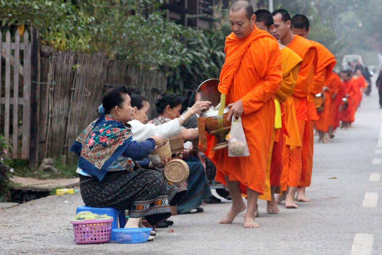Laos Alms Giving