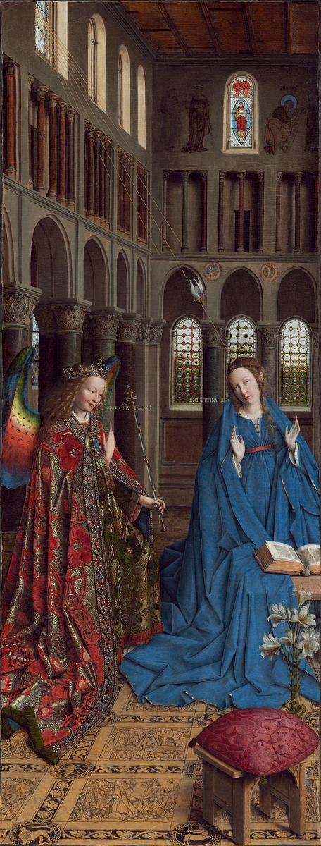 Jan van Eyck (Netherlandish, c. 1390 – 1441 ), The Annunciation, c. 1434/1436, oil on canvas transferred from panel, Andrew W. Mellon Collection, Washington D.C.