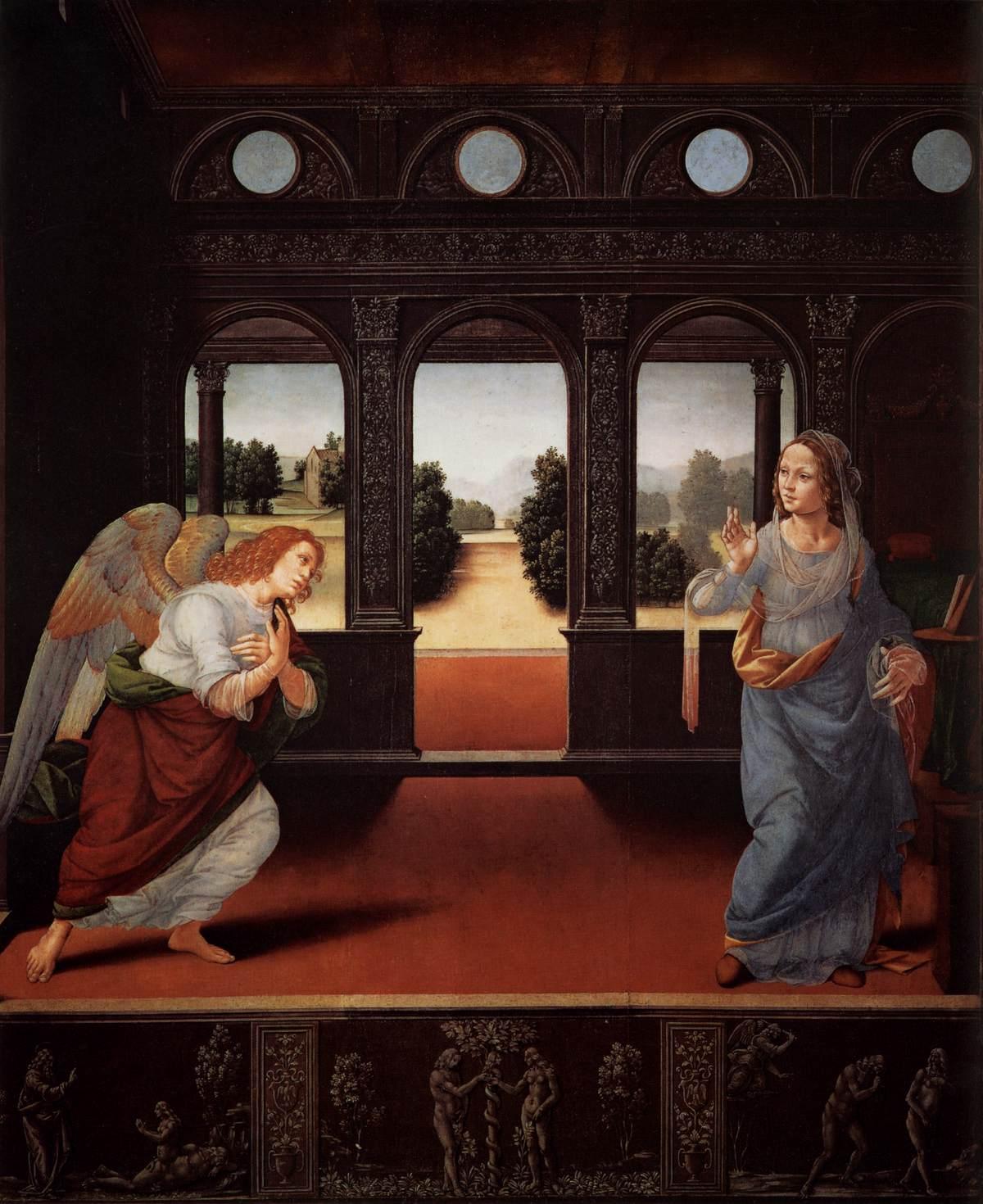 Lorenzo Di Credi (Italy, 1458-1537), The Annunciation c.1480-85, oil on wood, 35 x 28 in, Galleria degli Uffizi, Florence