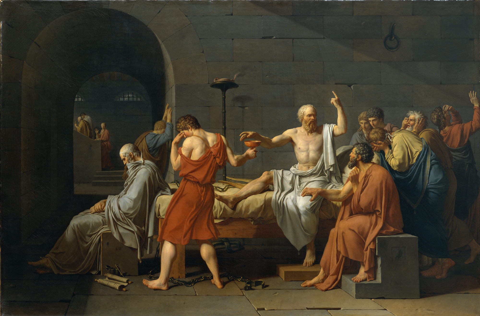 The Death of Socrates, Jacques Louis David, 1787, Oil on canvas, 51 x 77 1/4 in.
