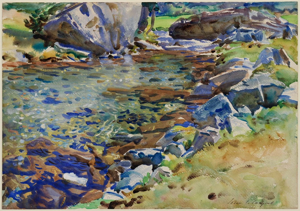 Brook Among Rocks, John Singer Sargent, c. 1906-1908, 14 x 20 1/6 in, watercolor over graphite on paper