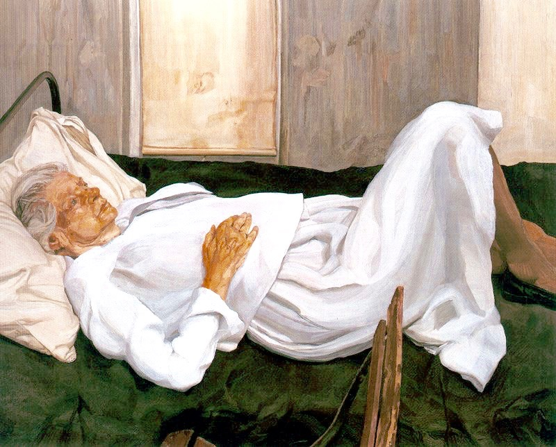 The Painter's Mother, Lucian Freud, ca. 1982-84, 50 x 142 in, oil on canvas