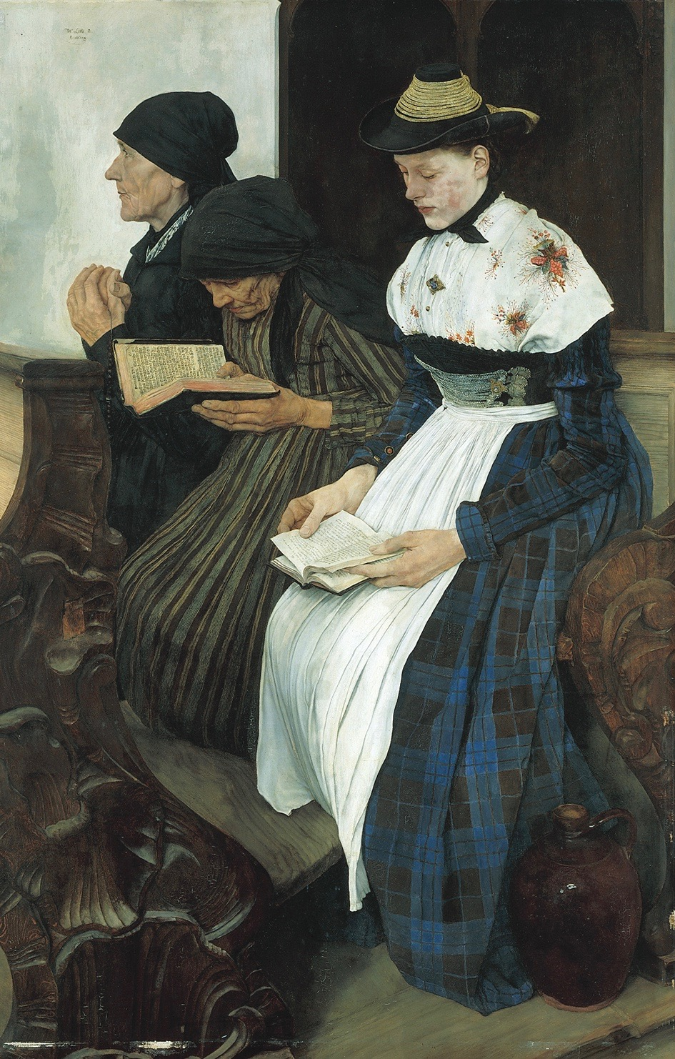 Three Women in Church, Wilhelm Leibl, 1881, 44 x 30 in, oil on wood