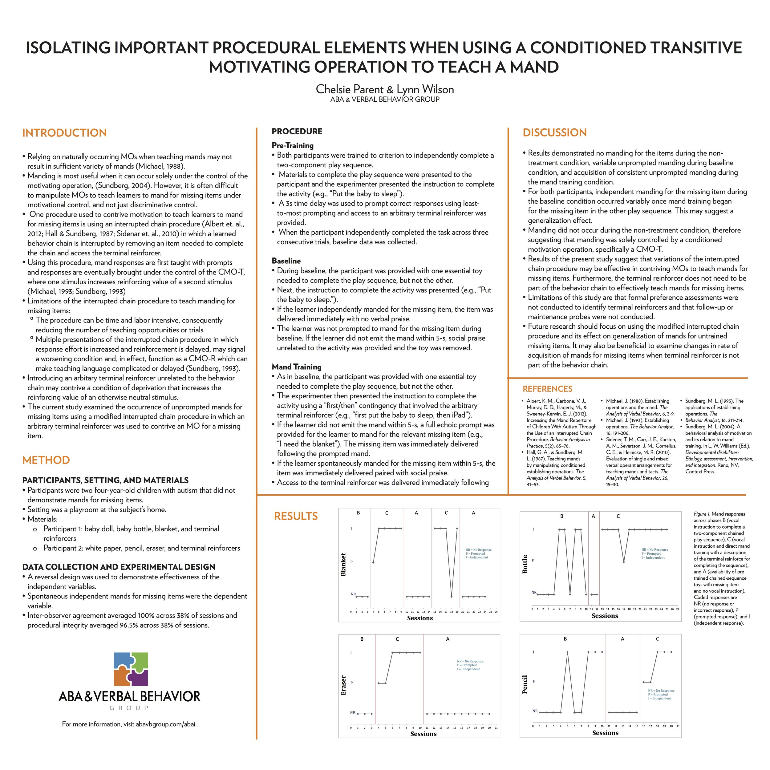ABAI Poster 201 - Click the button below to download the poster presentation from the Association of Behavior Analysis International conference.