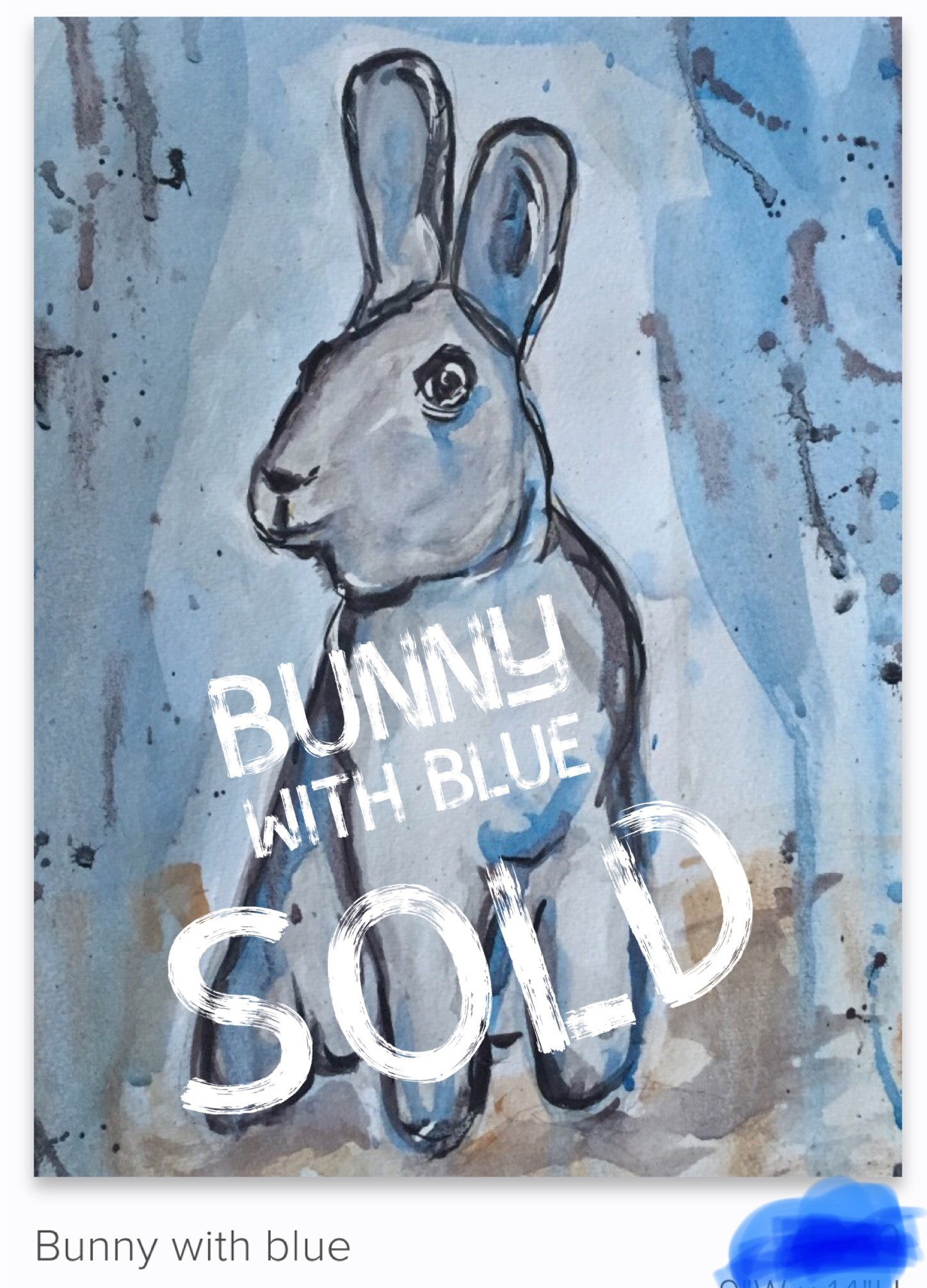 Bunny with Blue - SOLD