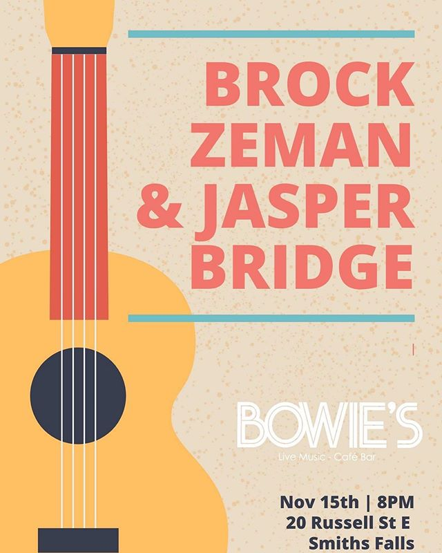We're very excited to be stopping in to @bowiessmithsfalls next Friday, November 15th. I've been eagerly awaiting this new venue and followed the progress of the build online, the space looks beautiful. And I couldn't ask for a better artist to share the night with @brock_zeman !